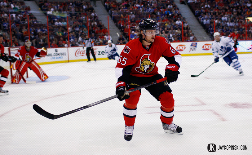 OTTAWA, CANADA - September 19, 2013: Erik Karlsson #65 during a preseason game between the Maple Leafs and Senators  at Canadian Tire Centre in Ottawa, Ontario, Canada. ***** Editorial Use Only *****Jay Kopinski Icon/SMI