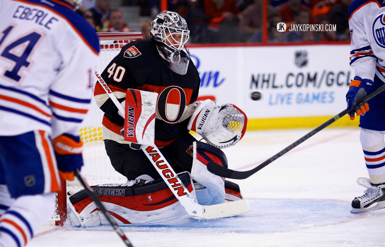 OTTAWA, CANADA - October 19: Robin Lehner #40 with a save through traffic during a game between the Oilers and Senators at Canadian Tire Centre on October 19, 2013 in Ottawa, Ontario, Canada. ***** Editorial Use Only *****Jay Kopinski - Icon SMI